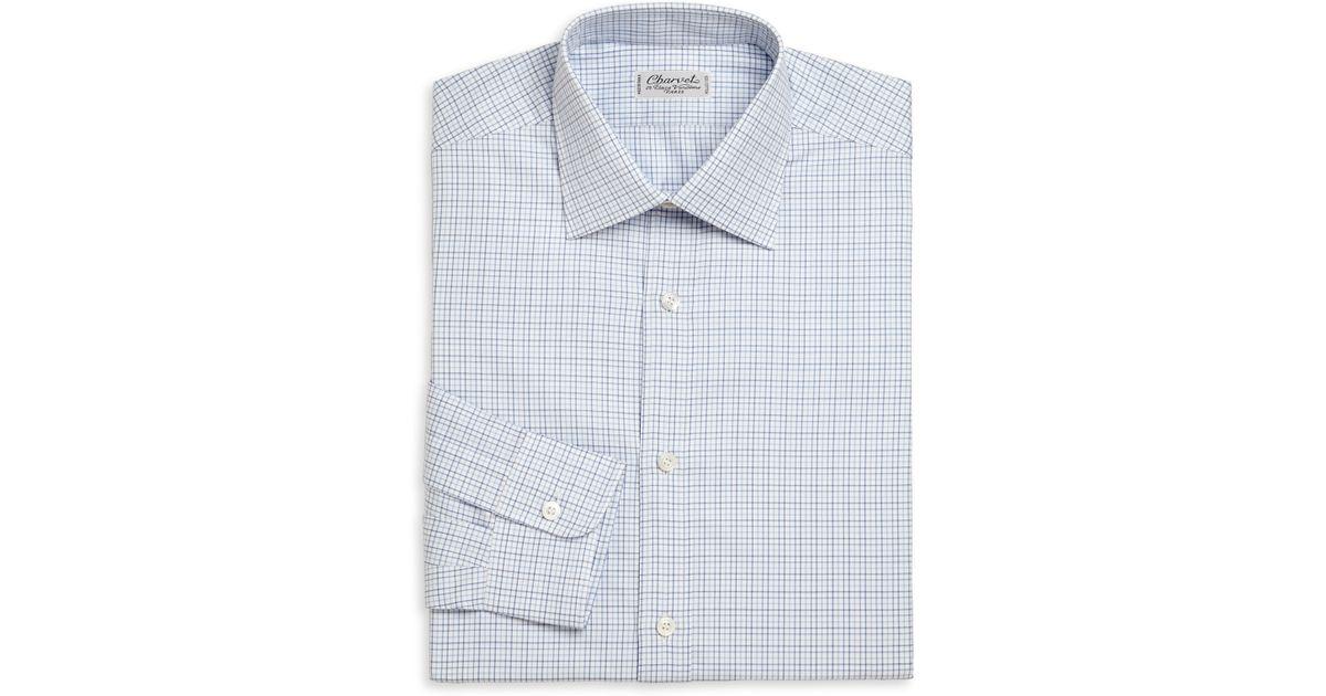 Charvet regular fit check cotton dress shirt in blue for for Regular fit dress shirt