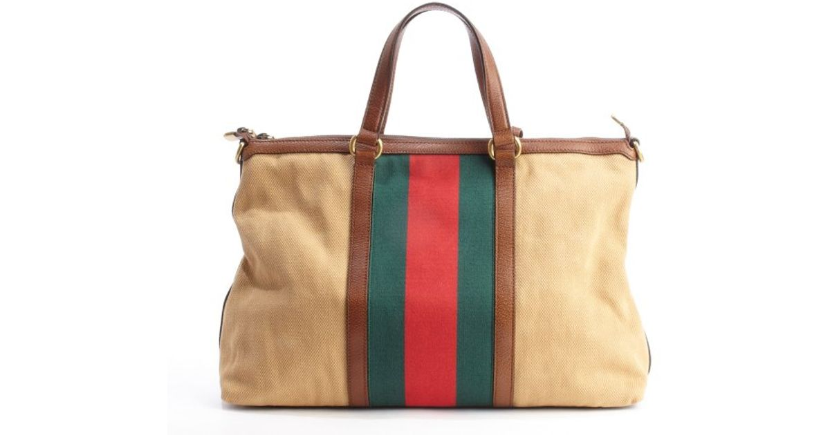 f6ee572983e Gucci Camel Leather Trimmed Canvas Web Stripe Convertible Tote Bag in  Natural - Lyst