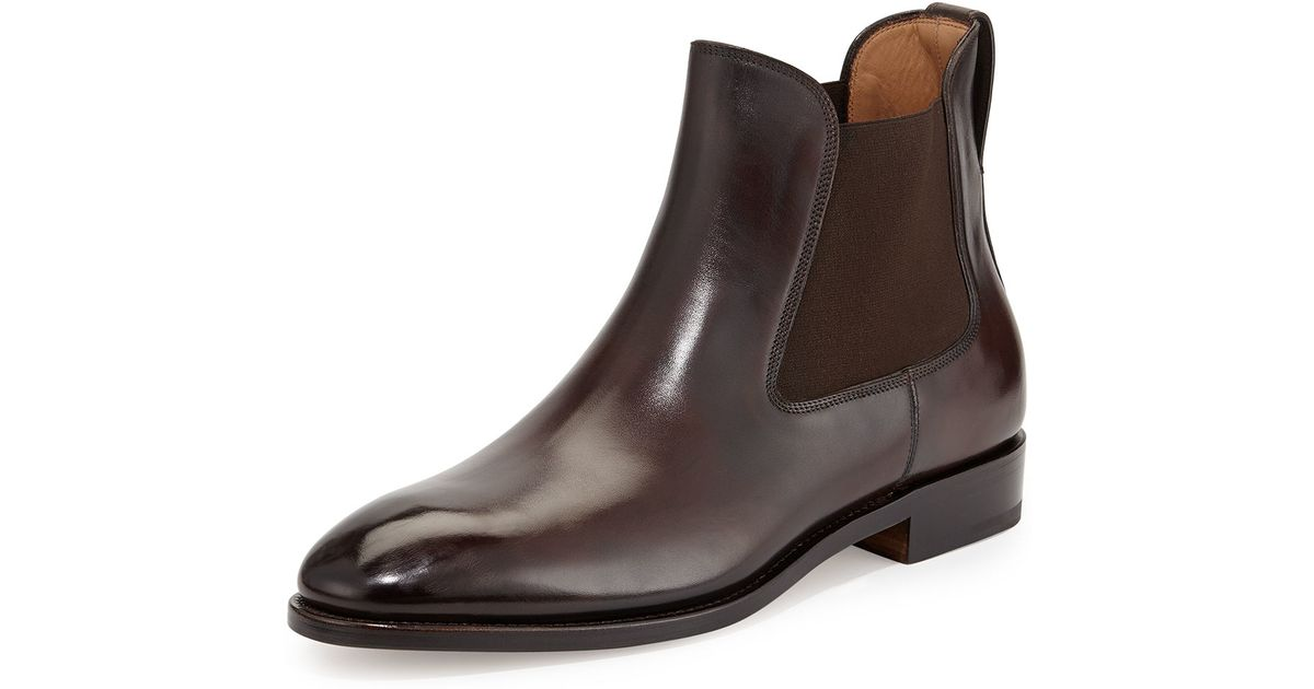 Ferragamo Marrico Tramezza Burnished Calfskin Chelsea Boot in Brown ...