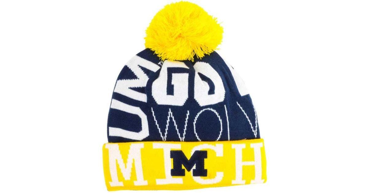 50c0a20f713 Lyst - adidas Michigan Wolverines Cuffed Pom Knit Hat in Metallic for Men