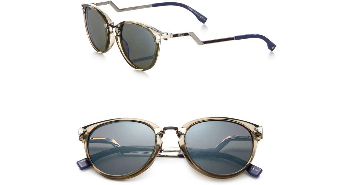 532d2ad78204 Lyst - Fendi Zig-zag Optyl Round Sunglasses in Gray