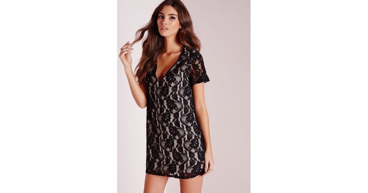 b7d7044646f1 Lyst - Missguided Lace Oversized Plunge Shift Dress Black in Black