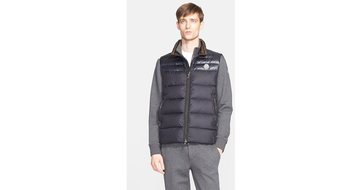 Moncler Dupres Two Tone Quilted Down Vest In Blue For