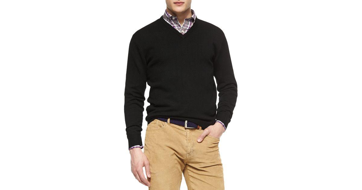 0c21a6259ebe Lyst - Peter Millar Merino Wool V-neck Sweater in Black for Men