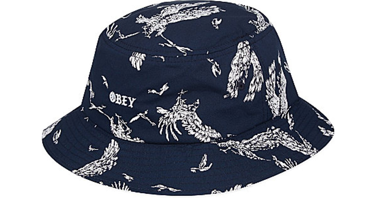 ac158bbbc31 ... cheap obey bird print bucket hat for men navy blue in blue for men lyst  1a18e