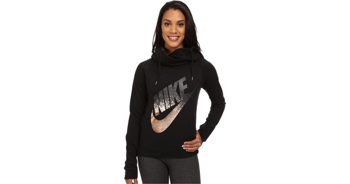 bab7ad1fddcf Lyst - Nike Rally Funnel Neck Metal in Black