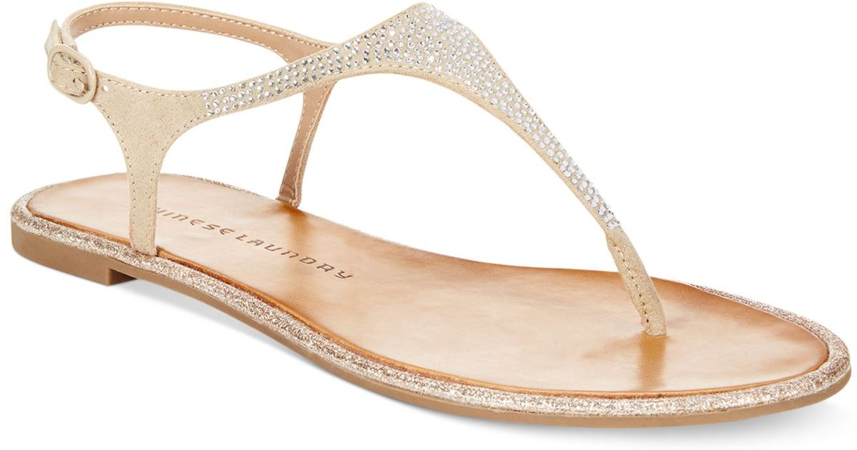 41886c40418 Lyst - Chinese Laundry Glam Rock Flat Thong Sandals in Natural