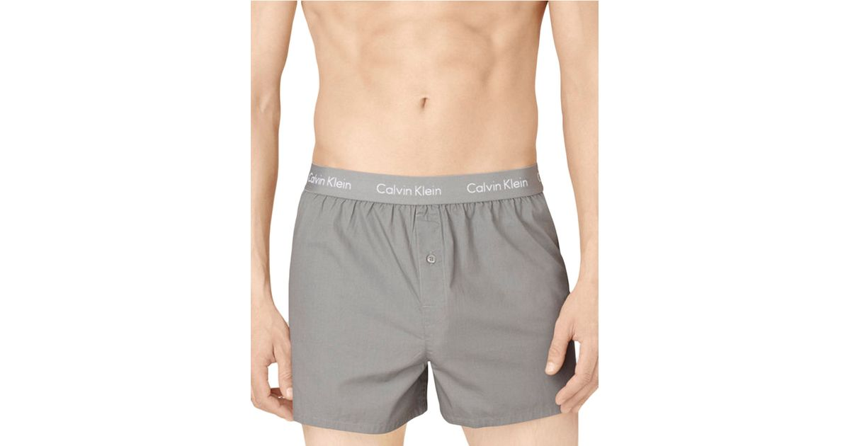 calvin klein slim fit boxer shorts in gray for men lyst. Black Bedroom Furniture Sets. Home Design Ideas