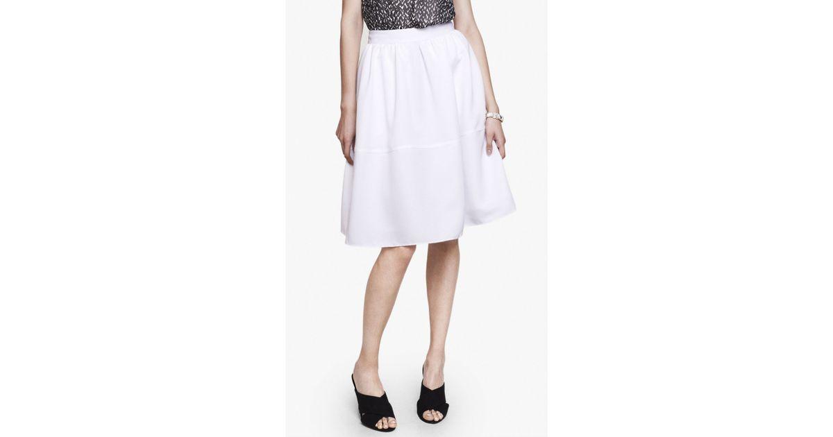express white high waist midi skirt in white true
