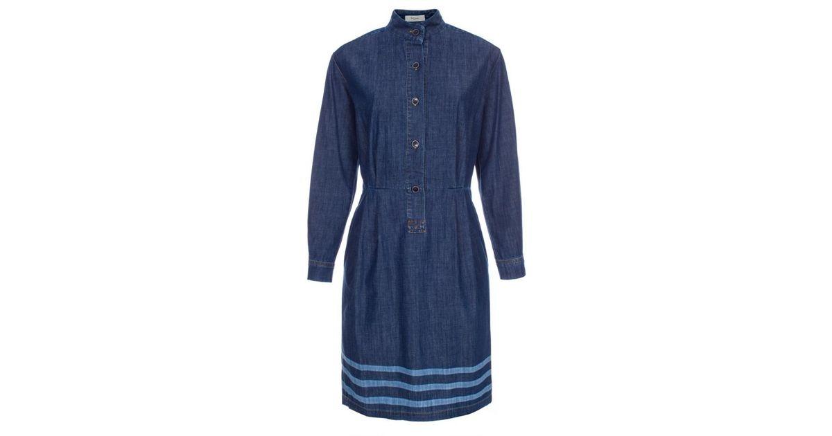 Lyst - Paul Smith Women s Dark-wash Denim Shirt-dress With Line Detail in  Blue c2422ce85