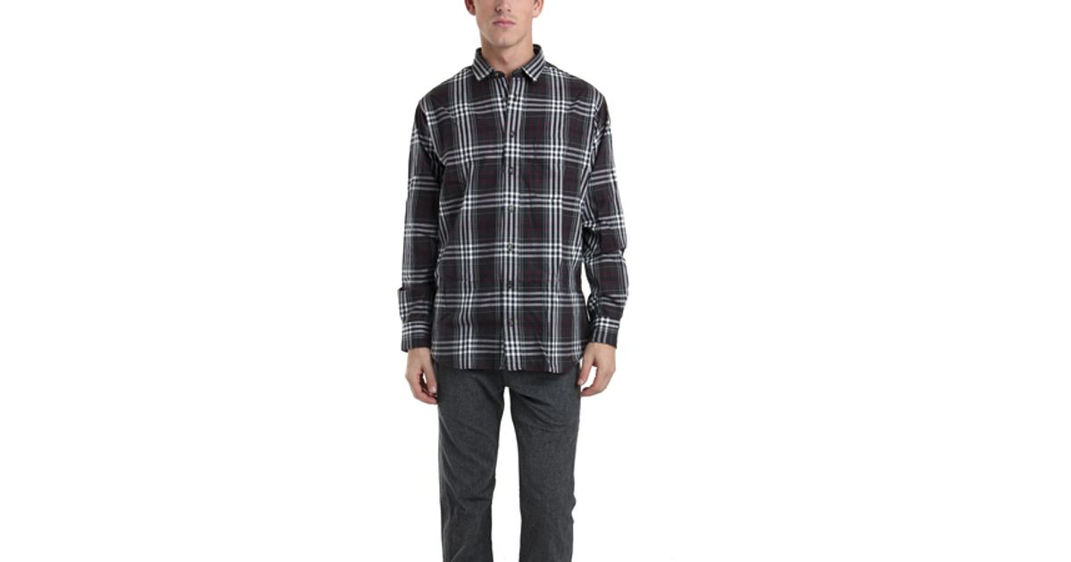 Lyst Blue Cream Black White Flannel Shirt In Black For Men