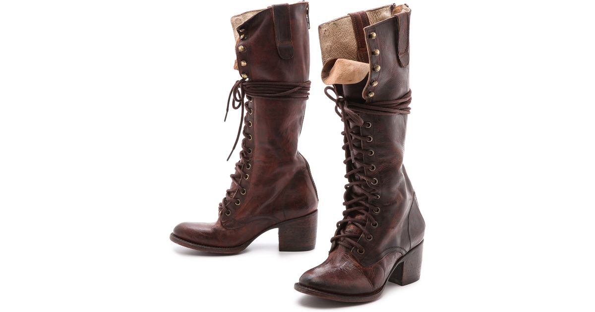 a78b2c511e8 Lyst - Freebird by Steven Granny Tall Combat Boots - Black in Brown