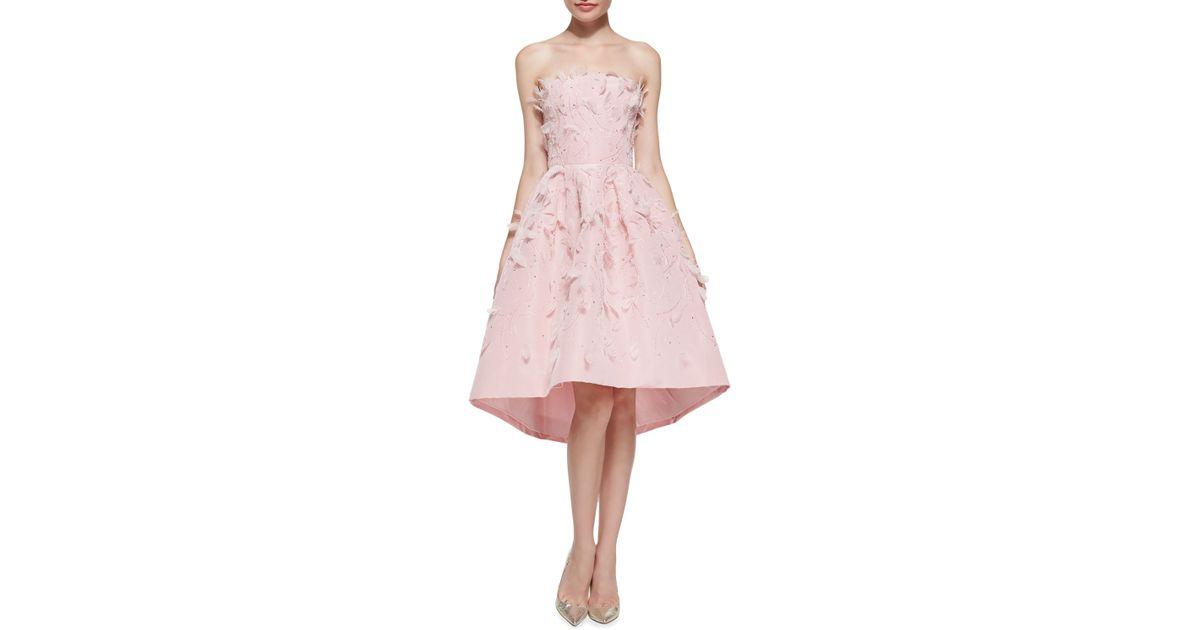 Lyst - Oscar De La Renta Strapless Beaded & Feather Cocktail Dress ...