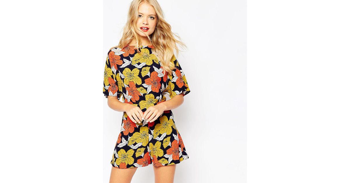 a41a8448951 Lyst - ASOS Kimono Playsuit In Autumn Floral Print