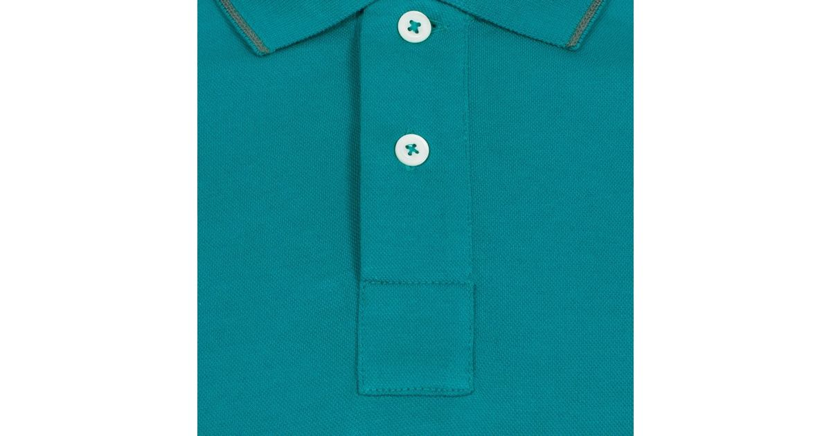 Paul smith men 39 s turquoise ps logo cotton pique polo shirt for Aqua blue mens dress shirt