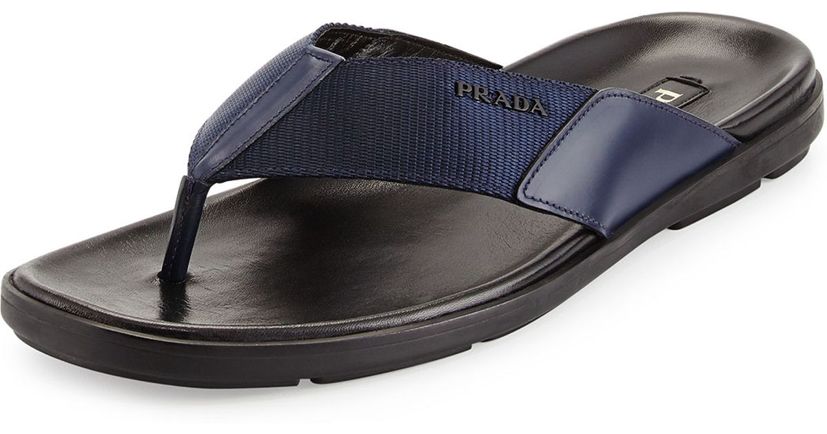 7185a40d553f50 Lyst - Prada Men s Nylon Flip Flop in Blue for Men