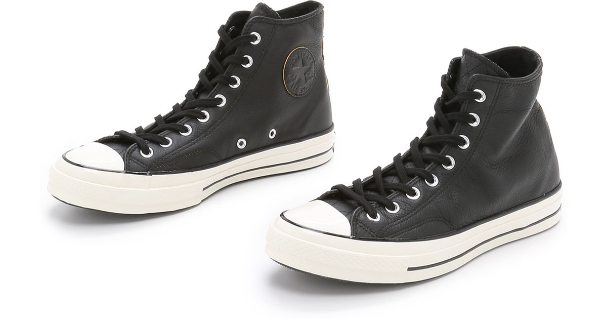 06d32a8eff209b Lyst - Converse Chuck Taylor All Star  70s Leather High Top Sneakers in  Black for Men