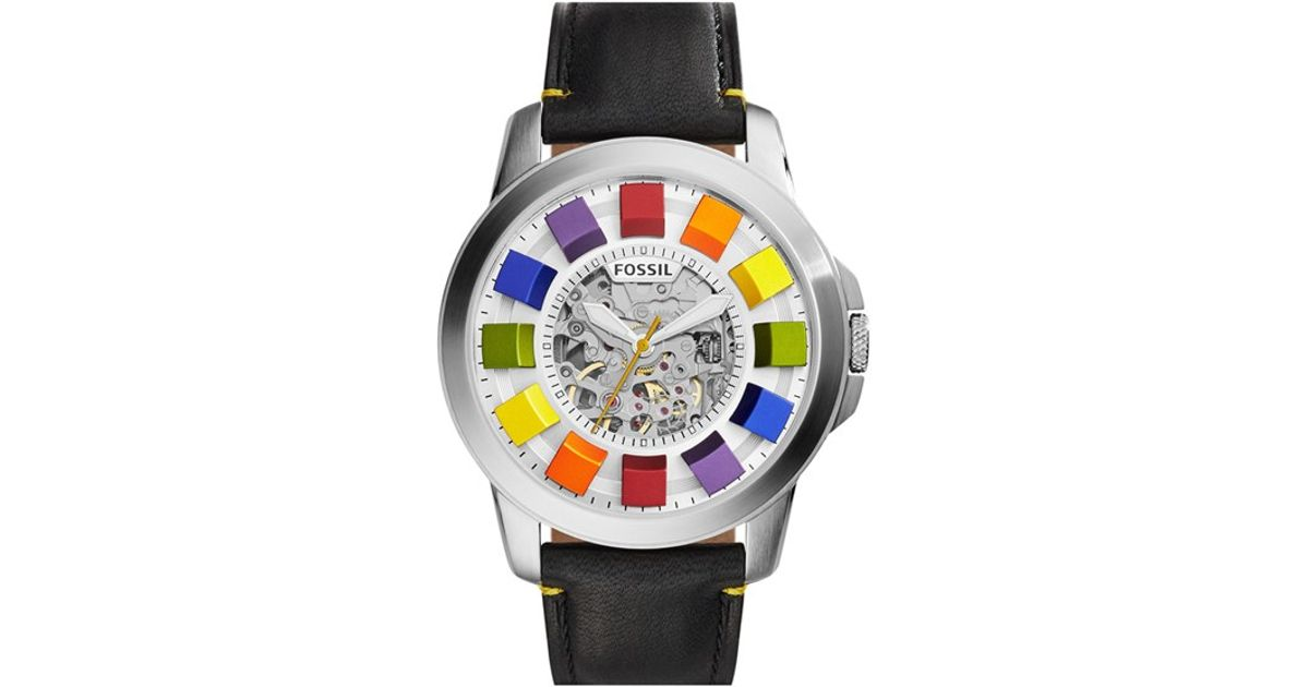 Lyst Fossil Grant Automatic Leather Strap Watch For Men