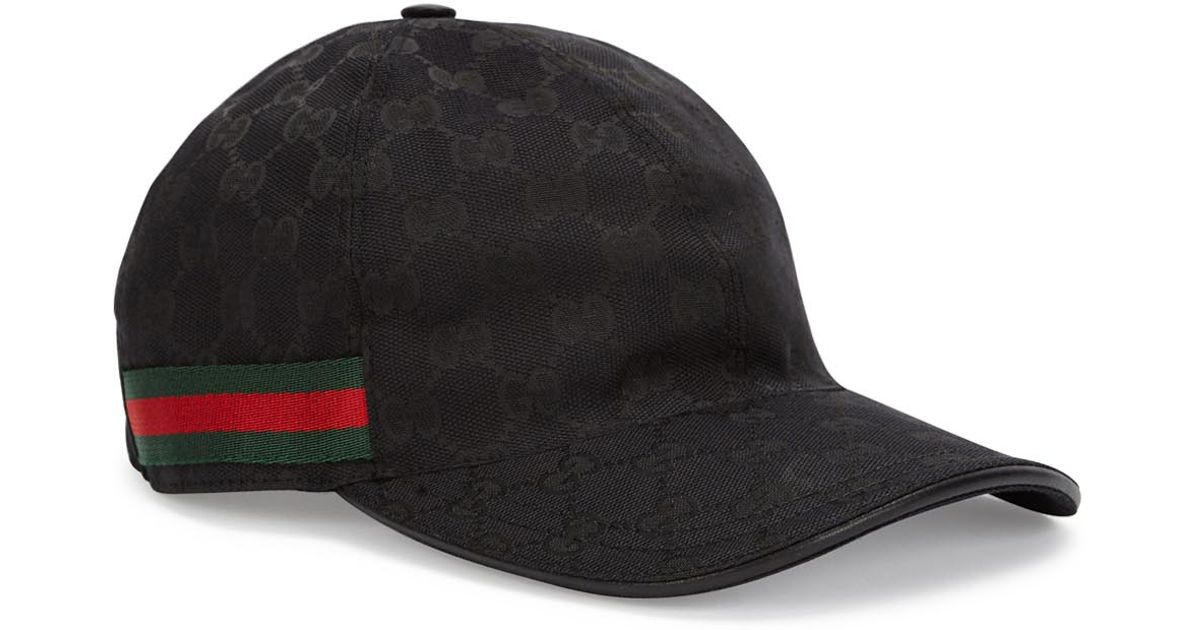 0fc3a02c Gucci Gg Black Monogrammed Canvas Cap in Black - Lyst