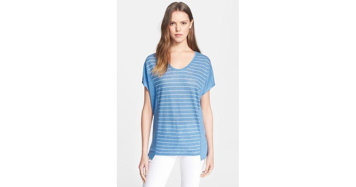38ad5ee3ede21d Lyst - Vince Stripe Cocoon Tee in Blue