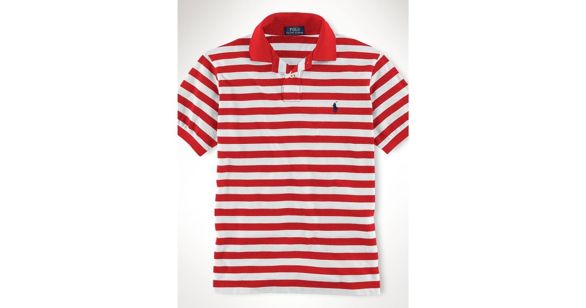 f01f4442e ... new arrivals lyst polo ralph lauren custom fit striped polo shirt in  red for men 95e94