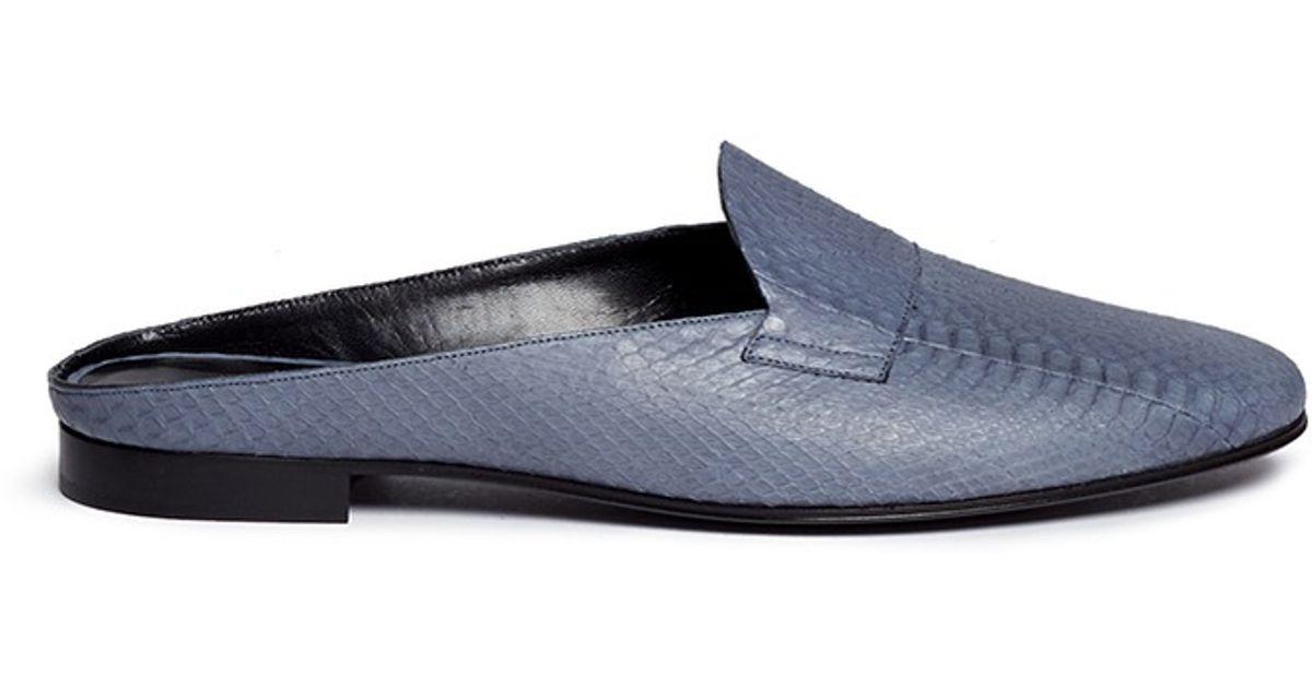 Pierre Hardy Snakeskin Leather Slide Mules In Blue Lyst