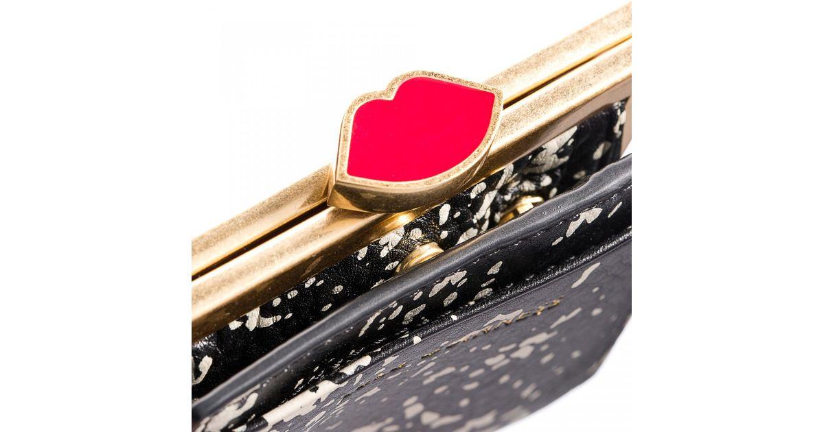 Lyst - Lulu Guinness Floor Print Grainy Leather Folded Frame Purse ...