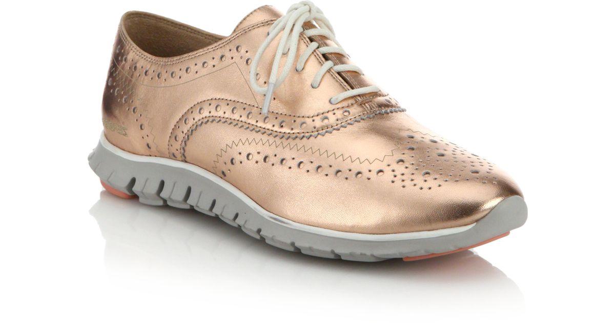 Lyst - Cole Haan Zerogrand Metallic Leather Wingtip Oxford Sneakers in Pink