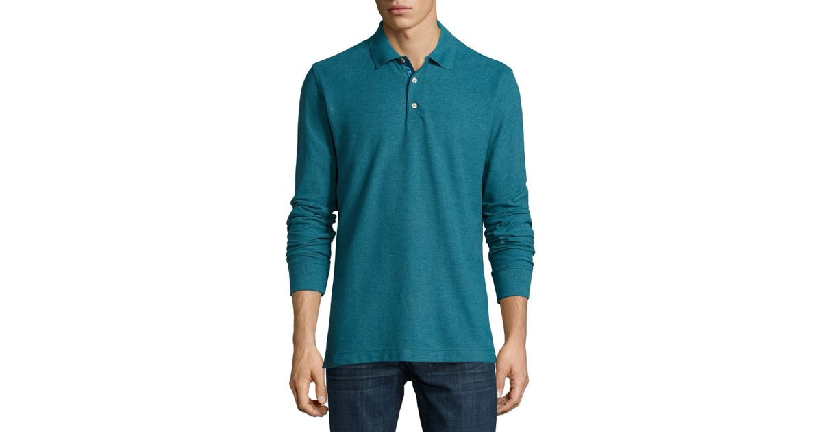 51aedf50 Lyst - Robert Graham Aherne Long-sleeve Polo Shirt in Blue for Men