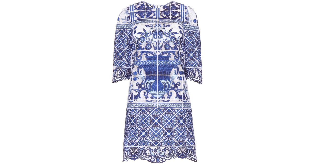 dolce amp gabbana embroidered dress in blue lyst