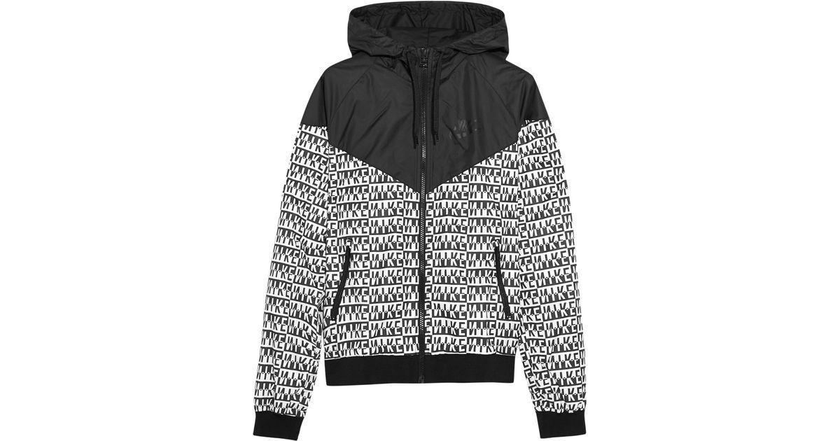 size 40 edf68 7ee10 Nike Windrunner Printed Shell Hooded Jacket in Black - Lyst