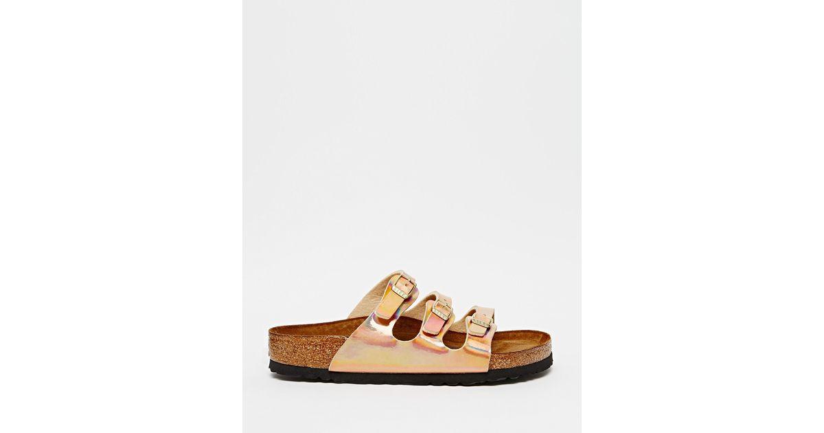bf99f203065 Lyst - Birkenstock Florida Triple Strap Copper Regular Fit Flat Sandals in  Pink