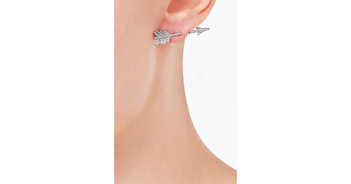 Lyst Anita Ko 18kt White Gold Single Arrow Earring With Diamonds In