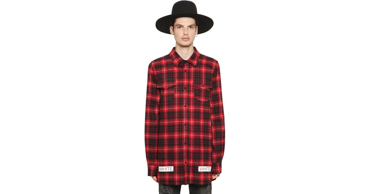 Off white c o virgil abloh plaid cotton flannel shirt in for Red black and white flannel shirt