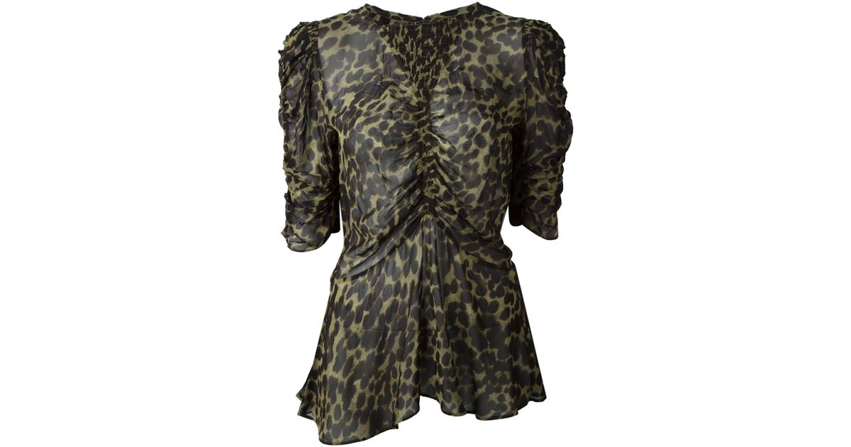 46f8d8be894 Étoile Isabel Marant Draped Leopard Print Top in Green - Lyst