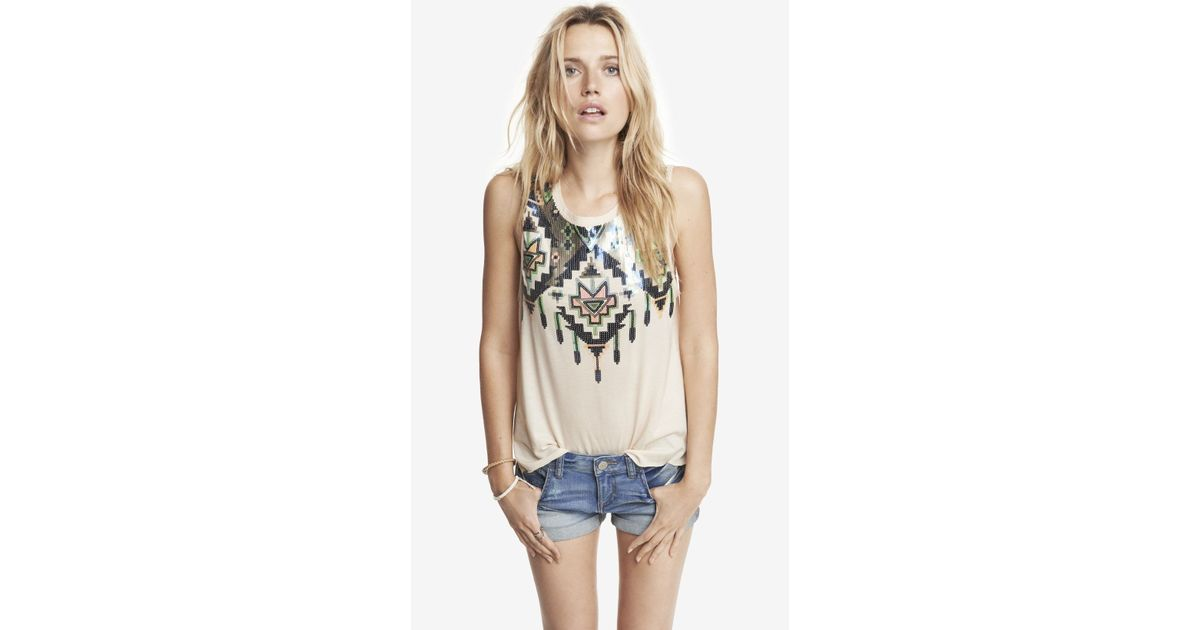 b3b4b47d Express Aztec Sequin Embellished Muscle Tank - Lyst