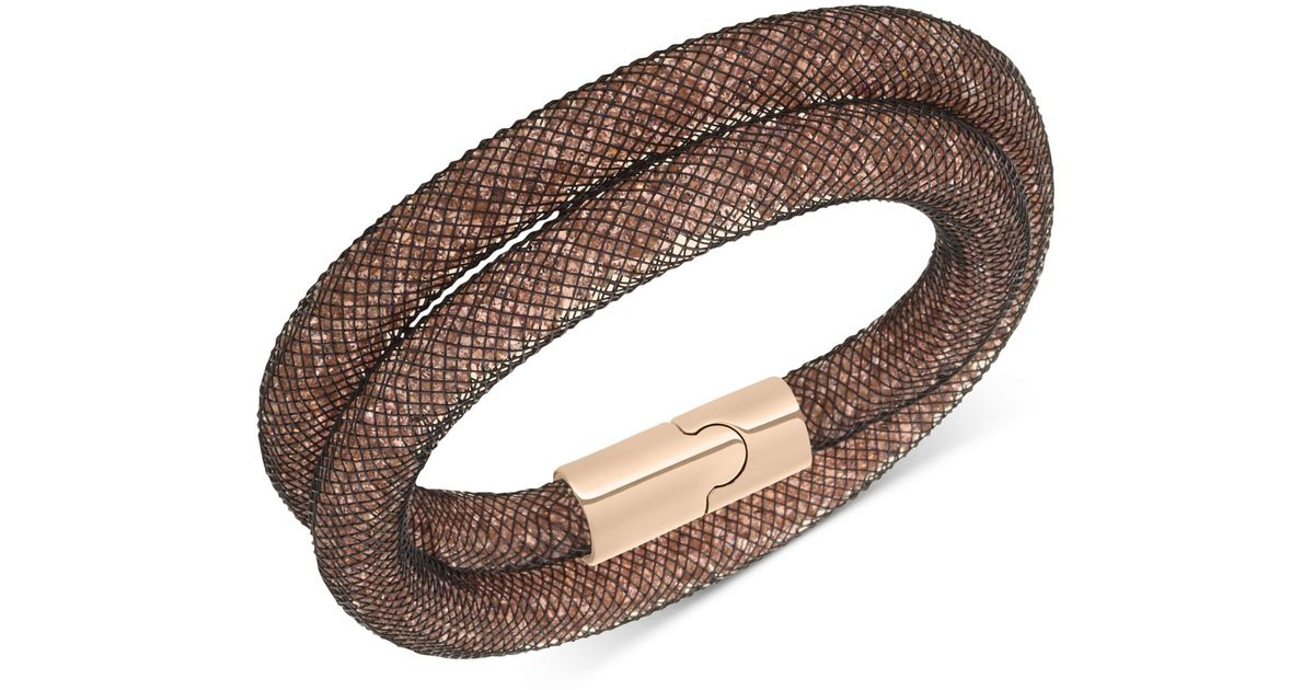 Lyst Swarovski Rose Gold Tone Stardust Mesh Double Wrap Bracelet In Brown
