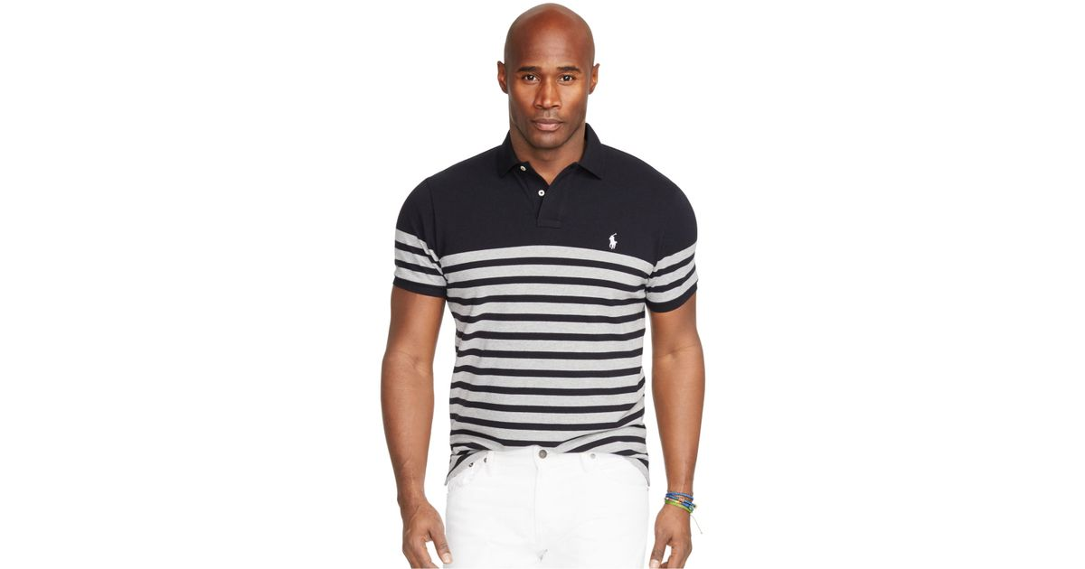 Polo ralph lauren big and tall striped mesh polo shirt in for Big and tall custom polo shirts