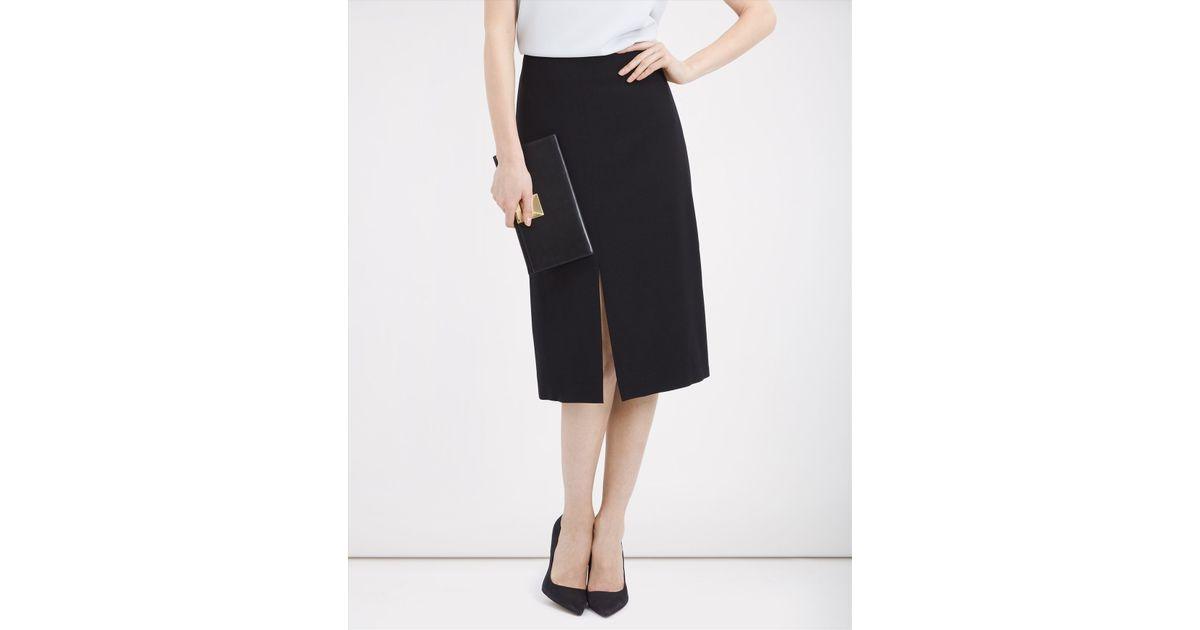jaeger front split pencil skirt in black lyst