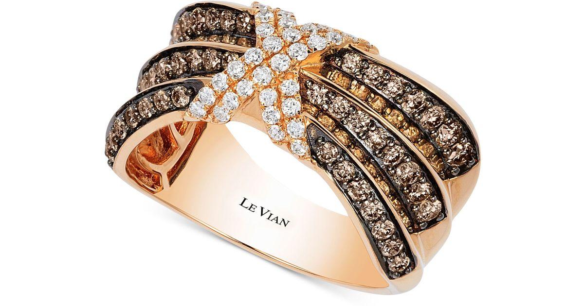 Lyst Le vian Chocolatier Pleated™ Diamond X Ring 3 4 Ct T w