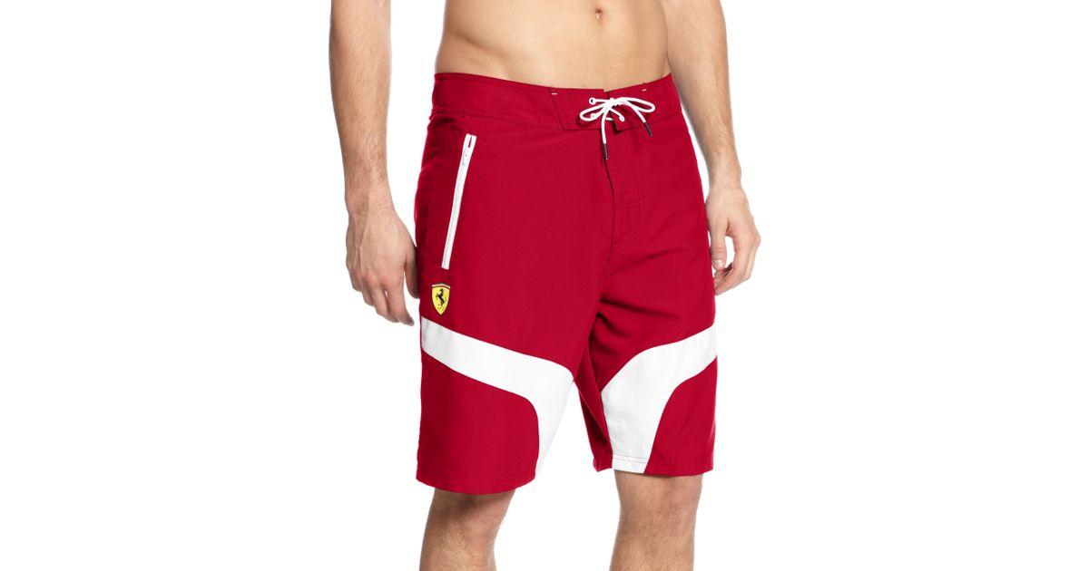 d4874374cd84 Lyst - PUMA Scuderia Ferrari Boardshorts in Red for Men