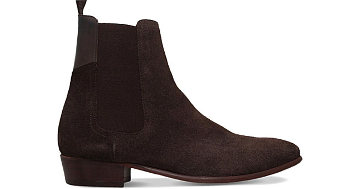 h by hudson watts suede chelsea boots in brown for lyst