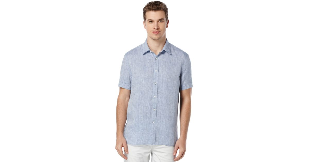 Perry Ellis Men 39 S Chambray Short Sleeve Shirt In Blue For