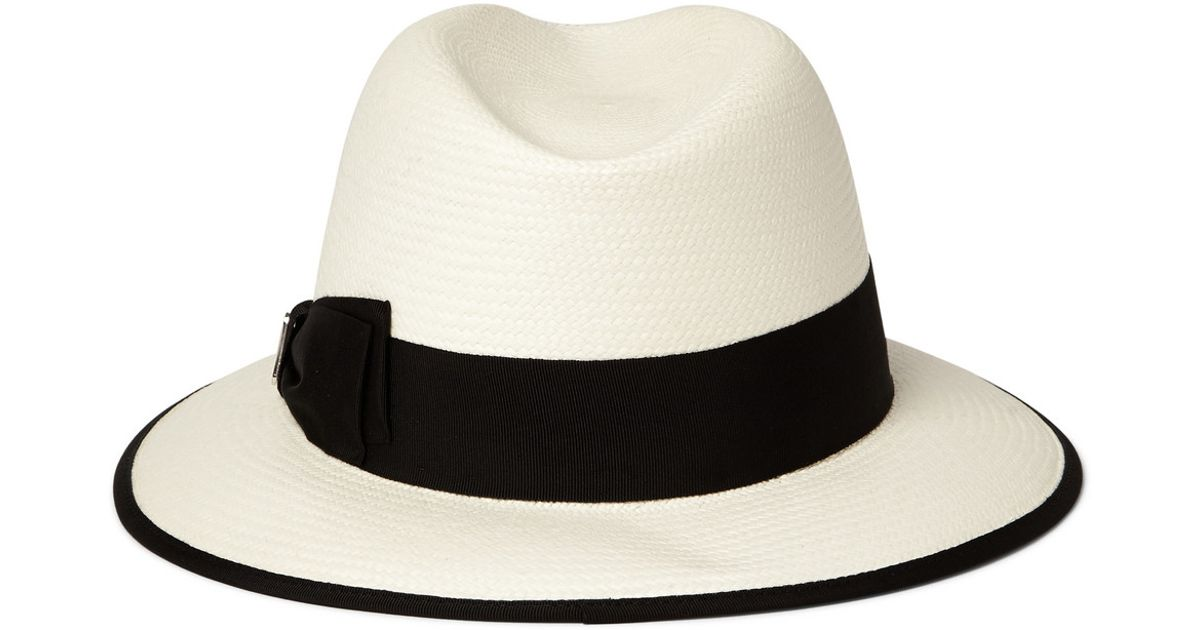 d30b8aa5458c8f Gucci Woven-Straw Panama Hat in White for Men - Lyst