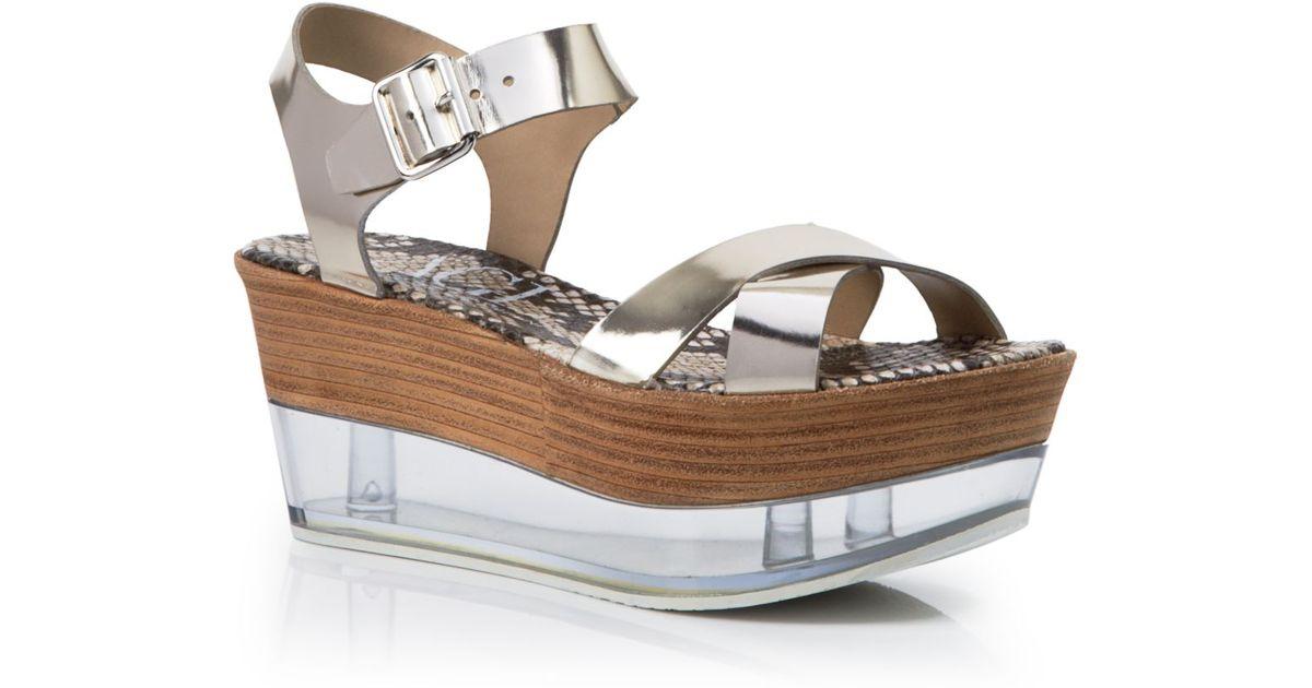 73c3a1acfd Agl Attilio Giusti Leombruni Platform Wedge Sandals - Metallic Lucite in  Metallic - Lyst