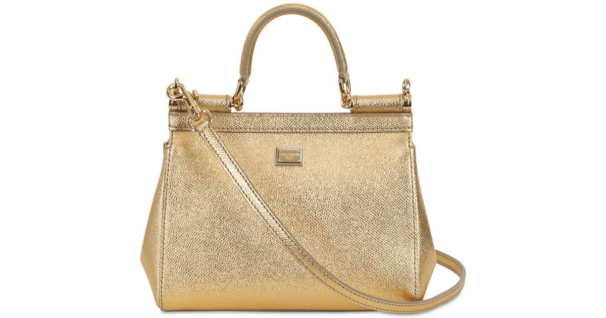 bc88fde82f Lyst - Dolce   Gabbana Small Sicily Laminated Leather Bag in Metallic