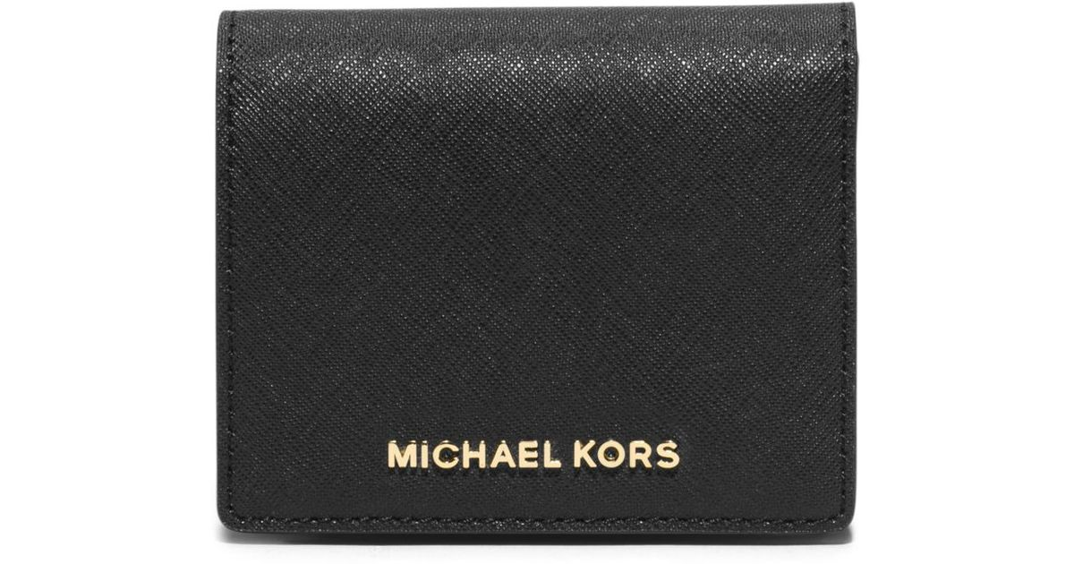ddc3798920ba Lyst - Michael Kors Jet Set Travel Saffiano Leather Card Holder in Black