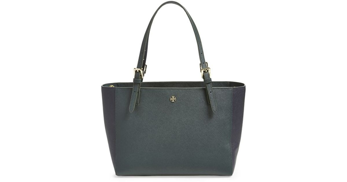 7facf3d50 Tory Burch 'small York' Colorblock Buckle Tote in Blue - Lyst
