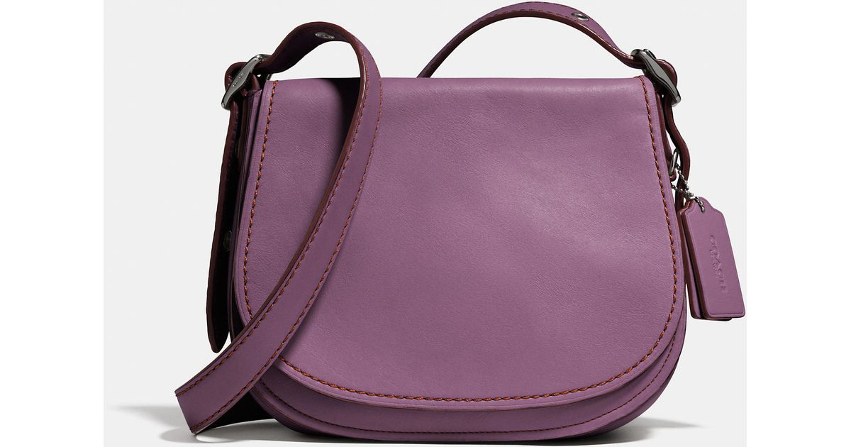 fc463c5ab572 Lyst - COACH 23 Leather Saddle Bag in Purple