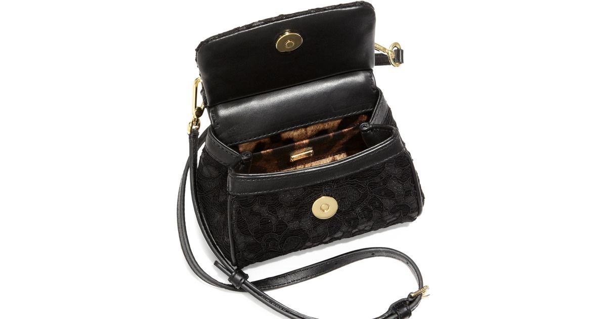 8bb4a1e439 Lyst - Dolce   Gabbana Miss Sicily Lace Mini Crossbody Bag in Black